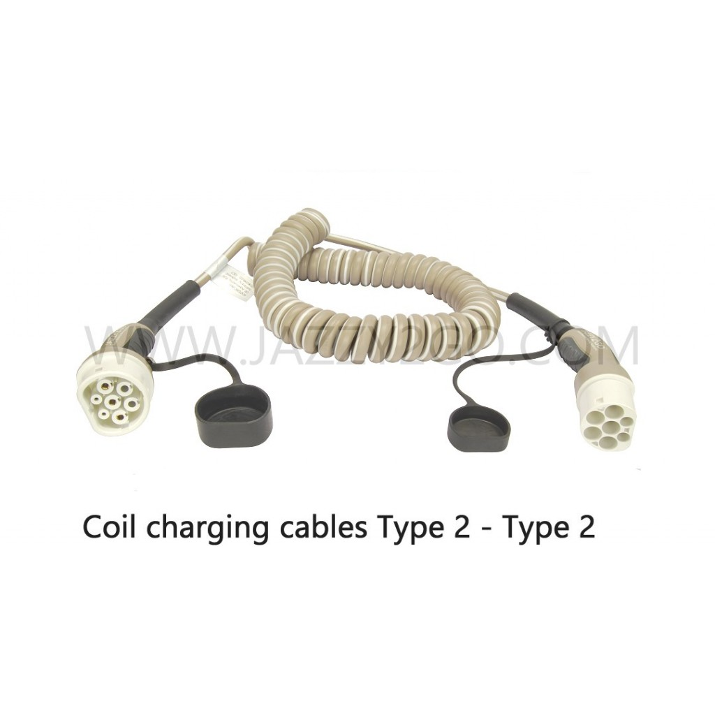 Coil Charging Cable 1 Phase - 32A Car plug Type 2 / Charging station plug Type 2  mode 3
